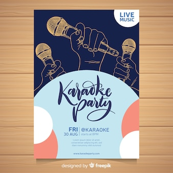 Hand drawn karaoke poster template