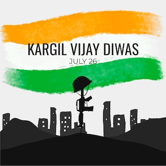 Hand drawn kargil vijay diwas illustration
