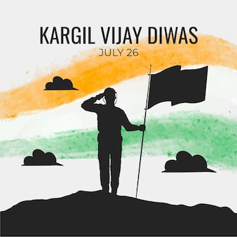 Illustrazione disegnata a mano di kargil vijay diwas
