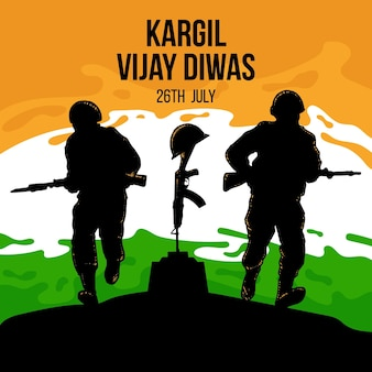 Hand drawn kargil vijay diwas illustration
