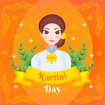 Hand drawn kartini day illustration