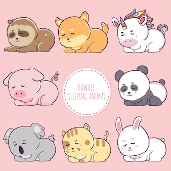 Hand drawn kawaii animal character sleeping collection.