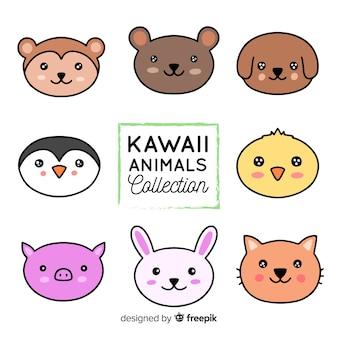 Collezione di animali kawaii disegnati a mano