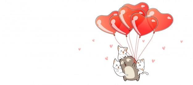 Hand drawn kawaii bear and cats with heart balloons