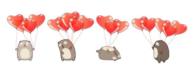 Hand drawn kawaii bears with heart balloons