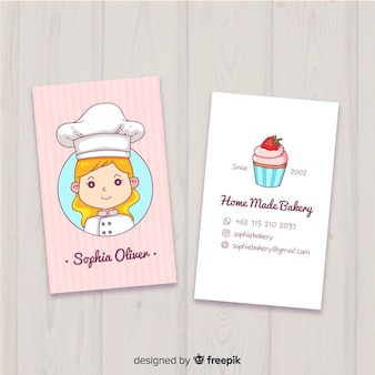 Hand drawn kawaii business card template