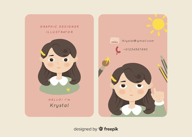 Hand drawn kawaii business card template