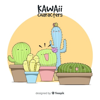 Hand drawn kawaii cactus background