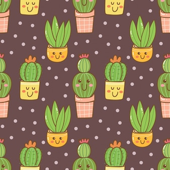 Hand drawn kawaii cactus seamless pattern
