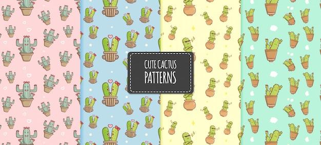 Hand drawn kawaii cactus set collection illustration