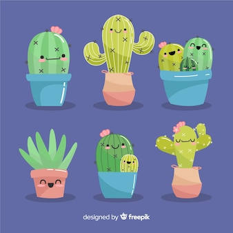 Hand drawn kawaii cactus set