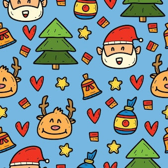 Hand drawn kawaii cartoon doodle christmas pattern design
