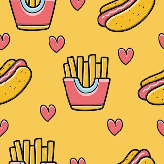Hand drawn kawaii cartoon doodle food pattern design illustration