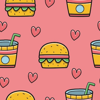 Hand drawn kawaii cartoon doodle food pattern