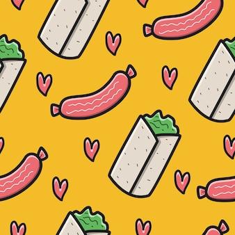 손으로 그린 귀여운 만화 낙서 음식 패턴