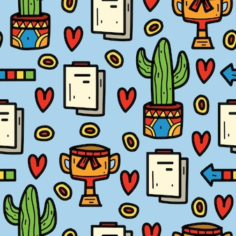 Hand drawn kawaii cartoon doodle pattern design