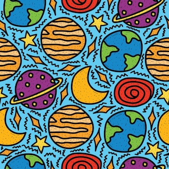 손으로 그린 귀여운 만화 낙서 행성 디자인