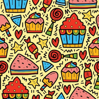 Hand drawn kawaii cartoon food doodle pattern design