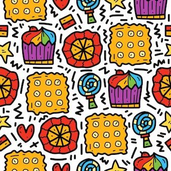 Ручной обращается каваи мультфильм еда каракули шаблон дизайна
