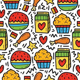 손으로 그린 귀여운 만화 음식 낙서 패턴 디자인