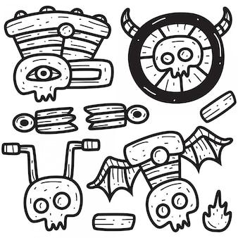 手描きかわいい漫画のオートバイ落書きデザインイラスト