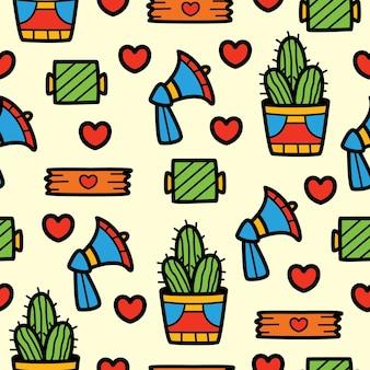 손으로 그린 귀여운 만화 완벽 한 패턴