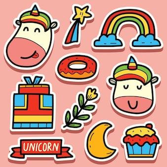 손으로 그린 카와이 만화 유니콘 스티커 디자인