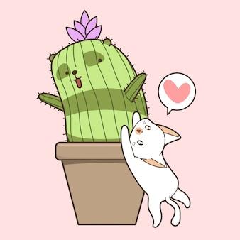 Hand drawn kawaii cat and cactus panda