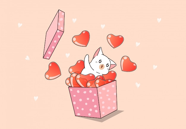 Hand drawn kawaii cat and heart in the pink box