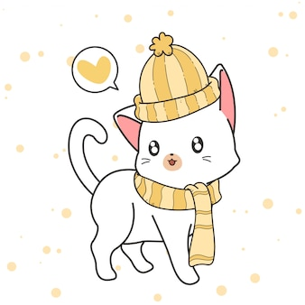 Hand drawn kawaii cat is wearing a hat and scarf