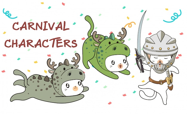 Hand drawn kawaii cats in carnival medieval style costume