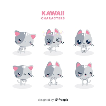 Hand drawn kawaii cats collection