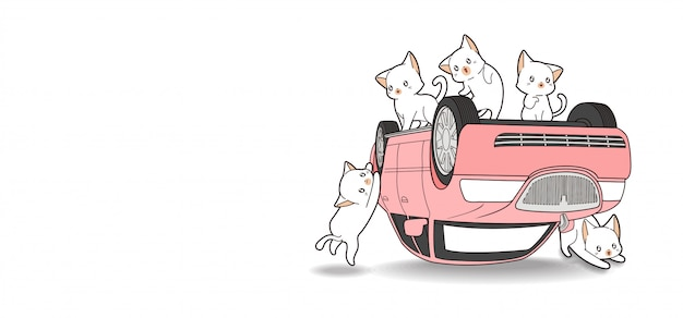 Hand drawn kawaii cats and pink car is broken