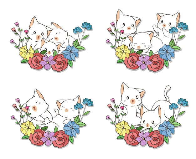 Hand drawn kawaii cats with a flowers