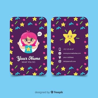 Hand drawn kawaii character business card template