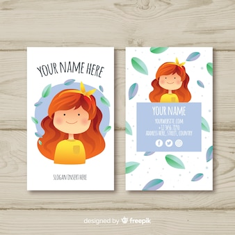 Hand drawn kawaii character business card template