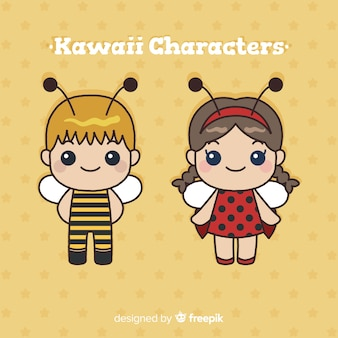 Hand drawn kawaii character collection