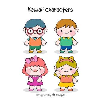 Hand drawn kawaii characters collection