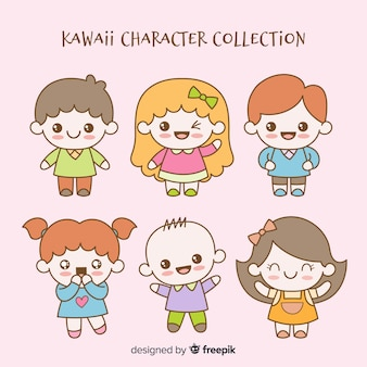 Hand drawn kawaii characters collection
