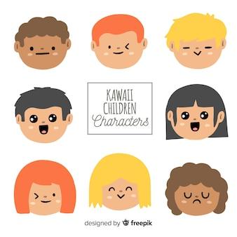 Hand drawn kawaii characters faces collection