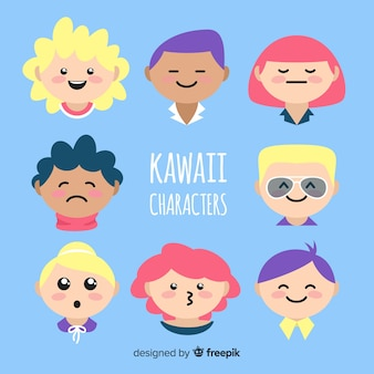 Hand drawn kawaii characters faces collection