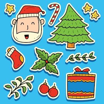 Ручной обращается каваи рождественский каракули мультфильм дизайн наклейки
