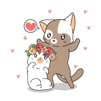 Hand drawn kawaii couple cat