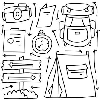 손으로 그린 카와이 낙서 캠핑카 만화 색칠 디자인
