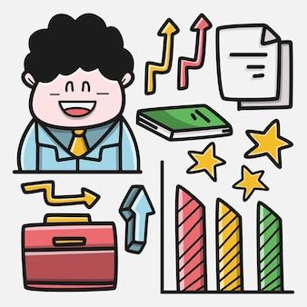 Hand drawn kawaii doodle cartoon business design illustration