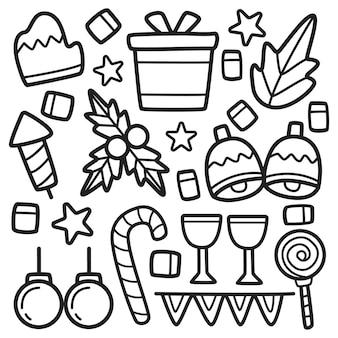 손으로 그린 귀여운 낙서 만화 크리스마스 디자인 일러스트 레이션