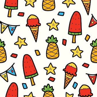 손으로 그린 귀여운 낙서 만화 아이스크림 패턴 디자인