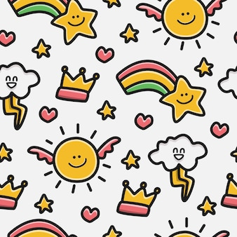 Hand drawn kawaii doodle cartoon pattern