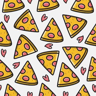 Hand drawn kawaii doodle cartoon pizza pattern