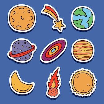 손으로 그린 귀여운 낙서 만화 행성 스티커 디자인